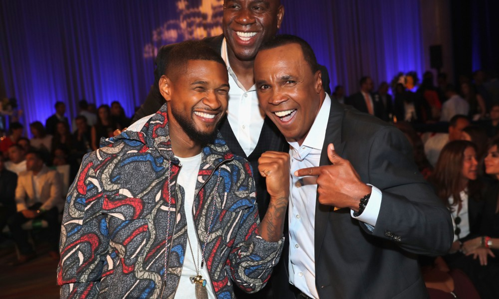 """HOLLYWOOD, CA - MAY 25:  Usher, Magic Johnson and Sugar Ray Leonard attend B. Riley & Co. and Sugar Ray Leonard Foundation's 7th Annual """"Big Fighters, Big Cause"""" Charity Boxing Night at Dolby Theatre on May 25, 2016 in Hollywood, California.  (Photo by Mark Davis/Getty Images for Sugar Ray Leonard Foundation ) *** Local Caption *** Sugar Ray Leonard; Usher; Magic Johnson"""